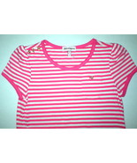 New Girls Juicy Couture Top White Pink 14 Stripes Gold Buttons Metal  He... - $10.00