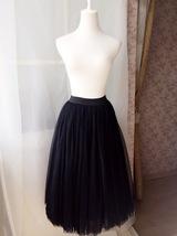 "BLACK MIDI TULLE SKIRTS High Waisted Black Full Tutu Skirts -27.5""long, 24""-29""W image 2"