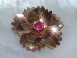 Vintage Rose Colored Sterling by Jordan Silver Flower with Overlapping S... - $12.19