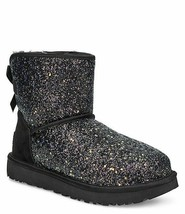 UGG Classic Mini Bow Chunky Glitter Cosmos Booties Women's Size US 7M in Black - $159.00