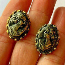 Vintage Gold Tone Cameo Lady Clip On Earrings - $7.91