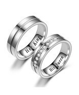"Titanium Romantic Couple Ring ""His Queen"""" Her King"" DIY Engraved Allian... - $11.22+"