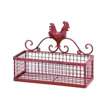Storage Rack Wall Mount, Bathroom Mounted Red Rooster Metal Wall Storage... - $33.99