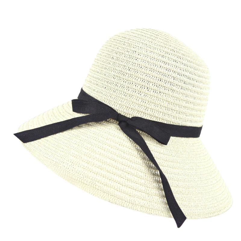 2019 Women Wide Brim Summer Sun Hat With Bowknot Floppy Beach Bohemian Sun Hats