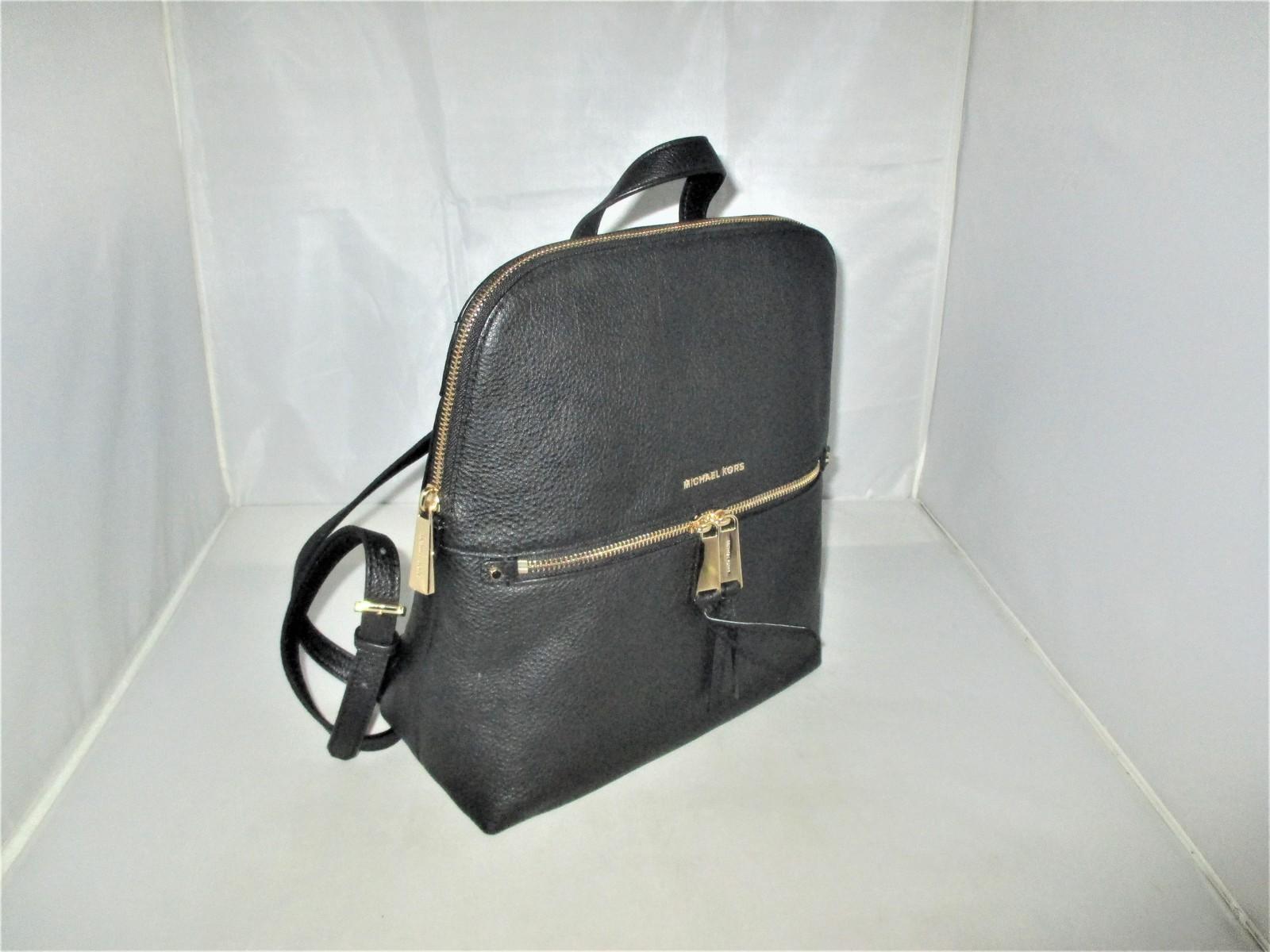 df5cae32bbeb Michael Kors Rhea Medium Slim Pebble Leather Backpack, Book Bag $258 Black