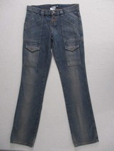 London Jeans Women Jeans 6 Blue Solid Button Fly Straight Leg Cotton 1837 - $12.87
