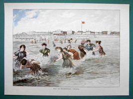 LADIES BEACH Sea SHore at Norderney Germany - COLOR VICTORIAN Era Print - $19.80