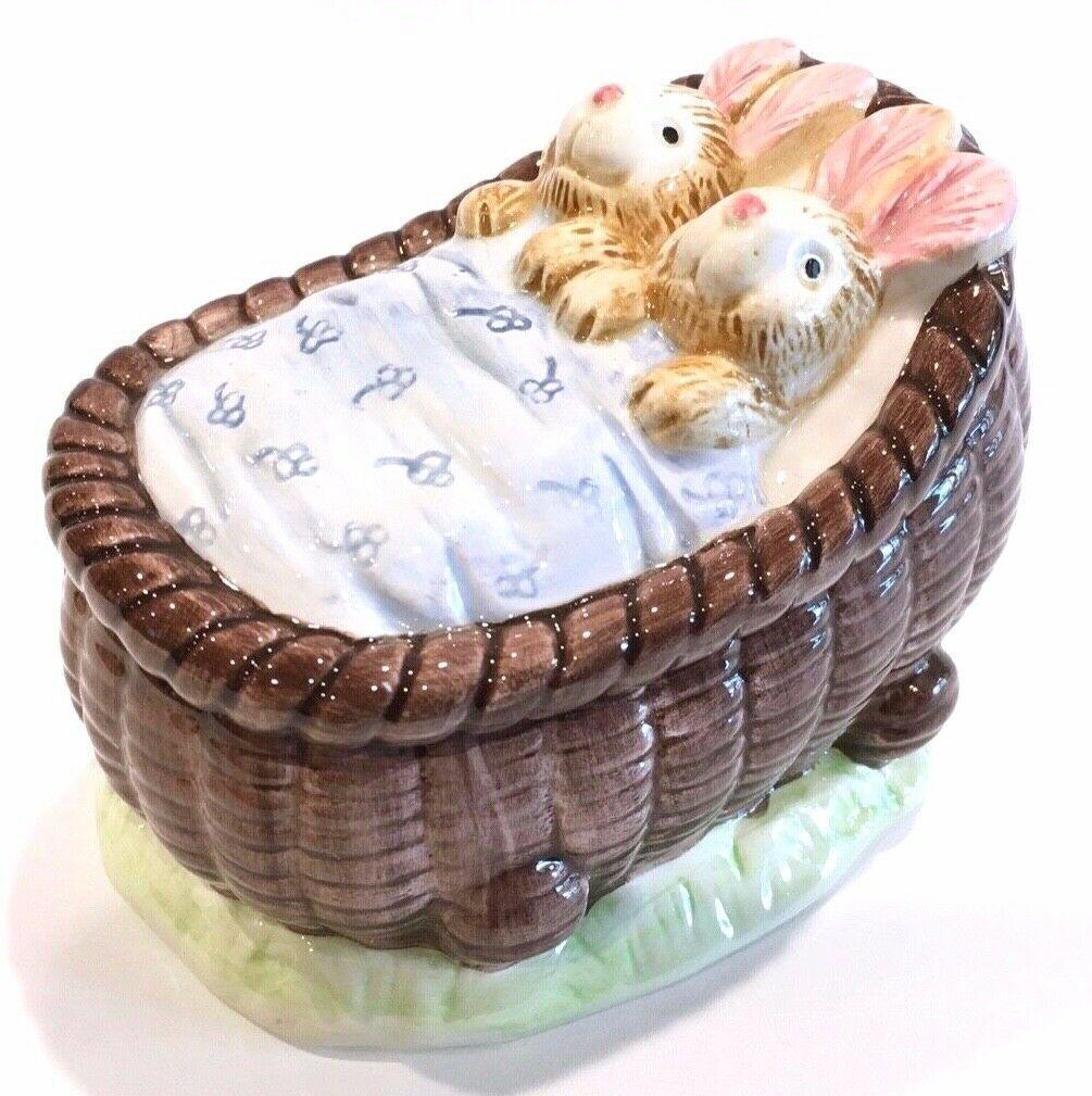 Fitz & Floyd OCI Bunny Rabbit Rabbits In Carriage Lidded Trinket Box Candy Box - $18.99