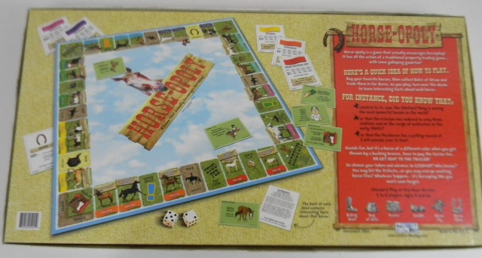 Horse-Opoly Monopoly Board Game Complete 2-6 Players Ages 8+ Horses w/ Tokens