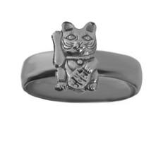 Sterling Silver 925 buddha cat Maneki-neko Lucky Money Positive energy c... - $30.21
