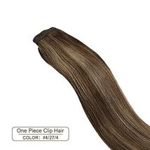 Ugeat 18inch One Piece Hair Extensions Clip in Real Human Hair #4/27/4 Balayage  image 2