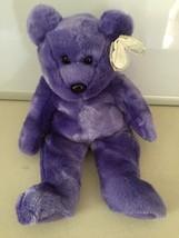 TY PURPLE Employee Teddy Bear Beanie Buddies 2000 Stuffed plush - $10.49