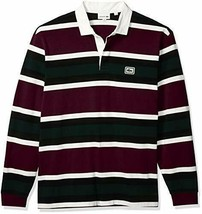 Lacoste Mens Long Sleeve Heavy Jersey Bold Stripe Rugby Polo Polo Shirt, Eggp... - $144.53