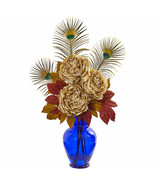 Nearly Natural Peony in Blue Vase Artificial Arrangement - $84.99