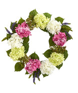 "23"" Hydrangea Artificial Wreath, Nearly Natural 4312 - $72.73"