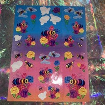 90s Lisa Frank Incomplete Sticker Sheet Rainbow Bees & Roses Exc Vintage Cond