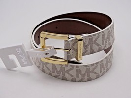 Michael Kors Women's MK Logo Belt, Vanilla (S) New With Tag Reg 48 - $38.61