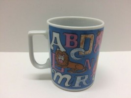 "Kids Alphabet Illustrated Mug Cup Japan Vintage Porcelain 3.25"" Tall Chi... - $14.80"
