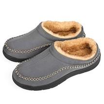 Zigzagger Men's Wool Micro Suede Moc Stitch Slippers Indoor Outdoor Nons... - $22.81