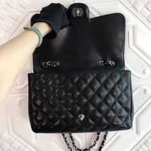 Authentic Chanel Black Jumbo Quilted Caviar Classic Single Flap Bag Silver HW image 9