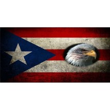 puerto rico flag old school country nation bald eagle license plate made... - $27.07