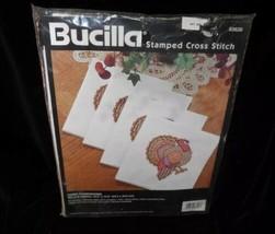NEW! Happy Thanksgiving Set 8 Napkins Stamped Cross Stitch Bucilla 83626 Turkey - $30.81
