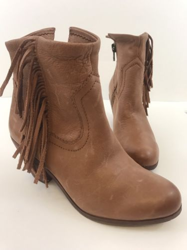 0ced7b637 SAM EDELMAN Louie TAN LEATHER Fringe Zip Up Ankle Boots Size 8.5M NEW NWOB