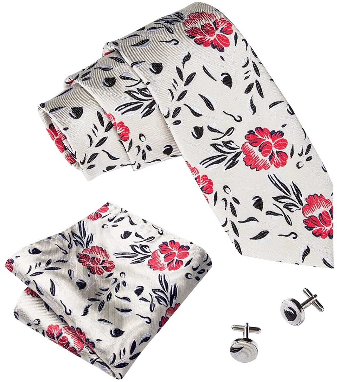 Barry.Wang Floral Ties For Men Woven Necktie Set Hanky Cufflinks