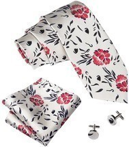 Barry.Wang Floral Ties For Men Woven Necktie Set Hanky Cufflinks - $33.64