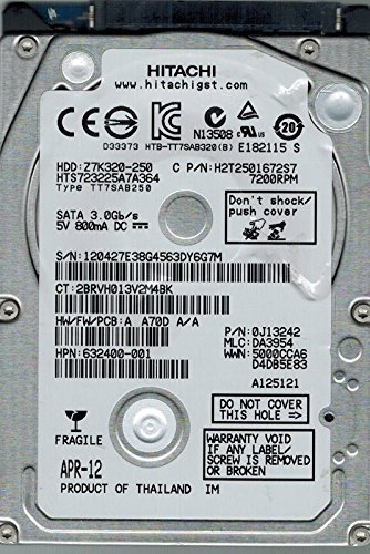 "Hitachi HTS723225A7A364 250GB 2.5"" 7mm SATA-300 Hard Drive"