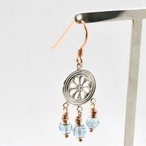 EARRINGS SILVER 925 LAMINATED GOLD PINK WITH AQUAMARINE FACETED image 4
