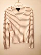 Jones New York Gold Striped Long Sleeve V-Neck Sweater - $4.75