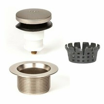 Bath Tub Drain Assembly Toe Touch Foot Operated Stopper Kit Brushed Nick... - $20.78