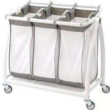 Laundry Hamper Sorter Organizer Removable Mesh Bags Metal Wheeled Cart W... - $92.00