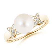 8mm Freshwater Cultured Pearl XO Ring with Diamonds Silver/Gold Size 3-13 - $299.00+