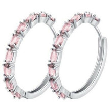 14k White Gold Filled Light Pink Topaz Hoop Earrings [EAR-264] - $15.84