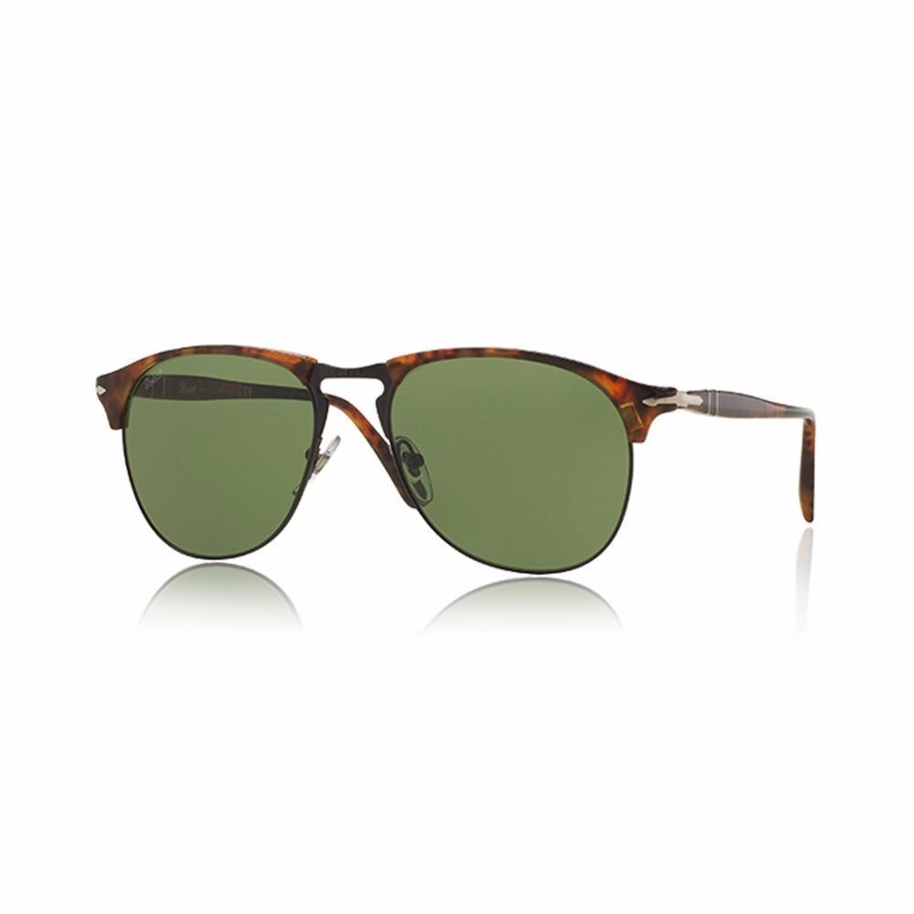 6761f6f122 Persol Men s Sunglasses PO8649 108 4E Caffe Havana Green Lens Aviator  Authentic - £138.21 GBP