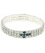 Silver Tone Light Blue Cross Multi-Row Crystal Tennis Bracelet 61144 - $15.26