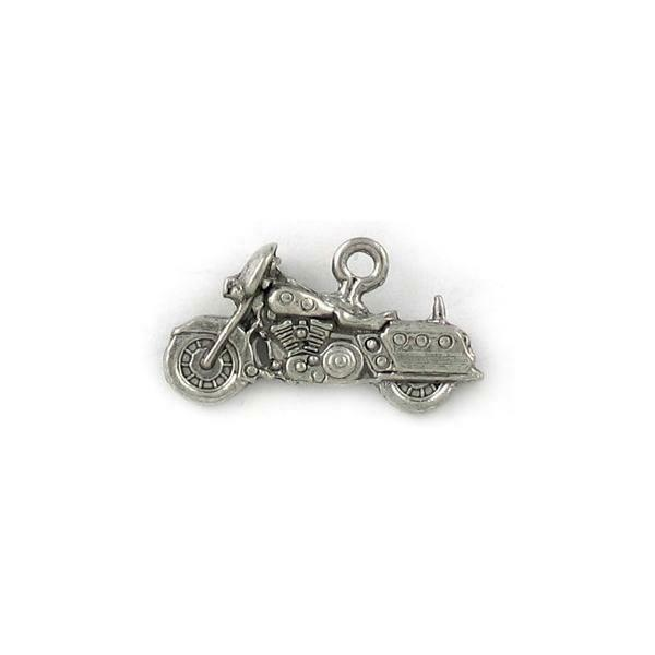 MOTORCYCLE WITH SADDLE BAGS FINE PEWTER PENDANT CHARM - 24mm L x 13mm W x 6mm D