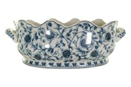 Beautiful Blue and White Chinoiserie Floral Scallop Rim Porcelain Foot B... - $247.49