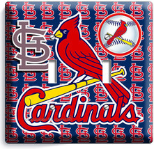 St Louis Cardinals Baseball Team Logo Double Light Switch Wall Plate Cover Decor - $9.71