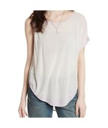 We The Free People Womens Pluto Pink Linen Blend One Shoulder T-Shirt L $58 - $8.79