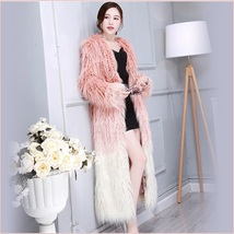 Shaggy Gradual Pink Long Hair Mongolian Sheep Faux Fur Long Length Winter Coat
