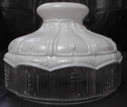 "10"" Glass Oil Kerosene Lamp Shade Satin White Top ClearCrystal Panel fit... - $77.90"
