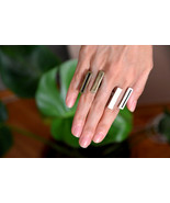 Double bar ring,Asymmetrical bars antique silver ring, Open band ring, G... - $58.00