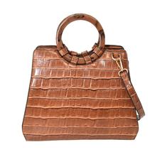 Women's Embossed Faux Crocodile Pattern Handbag Vegan Textured Leather Purse image 8