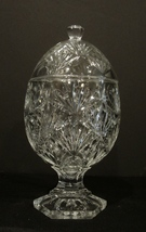 Cut Glass CANDY DISH with Lid Crystal Egg Shape Diamond Fan Pattern - $30.00