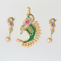 DANCING PEACOCK MOTIF PACHI WORK TIGER NAIL PENDANT STUDDED WITH CRYSTALS - $15.79