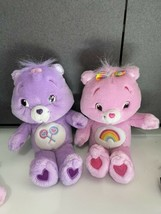 "Lot 2 Talking Carebears Singing 2007 Share bear Cheer Bear Purple Pink Lot 13"" - $34.60"