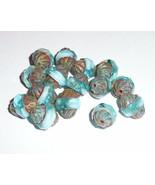 Pretty Czech Glass Turbine Beads Blue Aqua & Baby Blue w/ Picasso Fin. 1... - $8.90